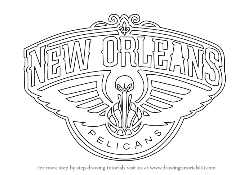 Step By Step How To Draw New Orleans Pelicans Logo