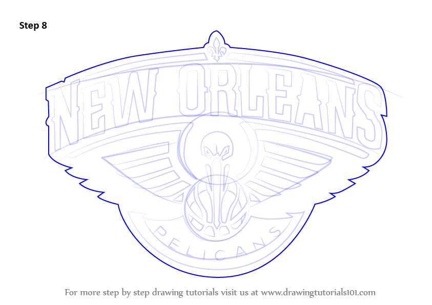 Learn How To Draw New Orleans Pelicans Logo Nba Step By