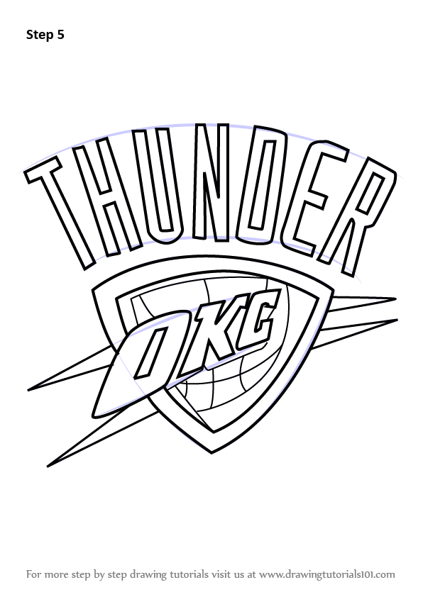 Learn How To Draw Oklahoma City Thunder Logo Nba Step By
