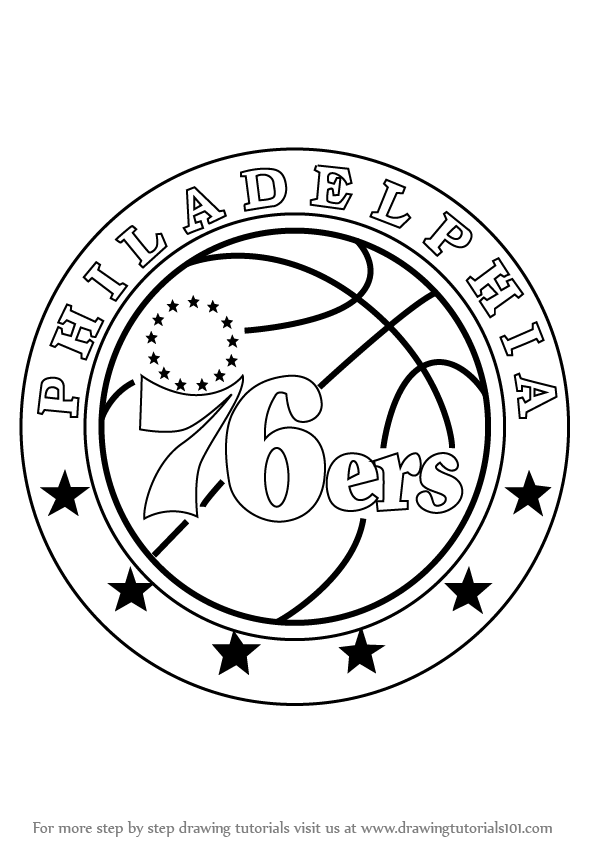 Learn How To Draw Philadelphia 76ers Logo NBA Step By Step Drawing Tutorials