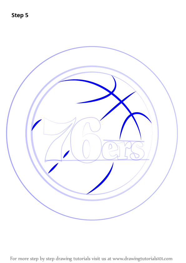 Learn how to draw philadelphia 76ers logo nba step by for Draw my logo