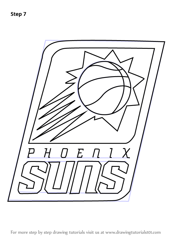 Step By Step How To Draw Phoenix Suns Logo