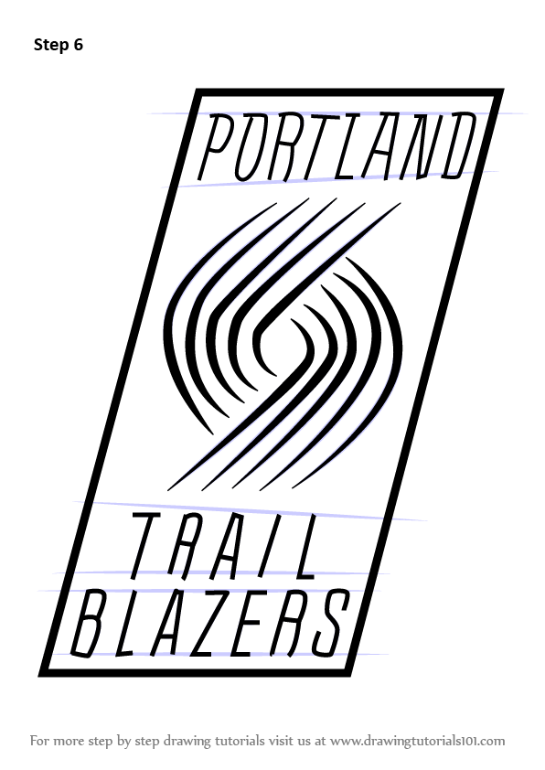 Learn How To Draw Portland Trail Blazers Logo Nba Step