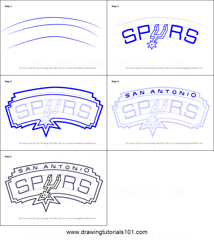 How to draw san antonio spurs logo printable step by step for San antonio spurs coloring pages