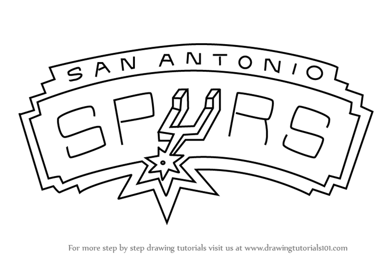 Learn how to draw san antonio spurs logo nba step by for San antonio spurs coloring pages