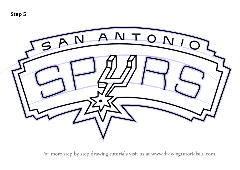 Learn How To Draw San Antonio Spurs Logo Nba Step By Step Drawing Tutorials