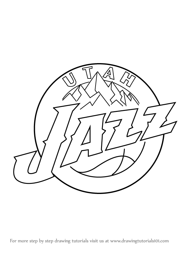 Learn How To Draw Utah Jazz Logo Nba Step By Step