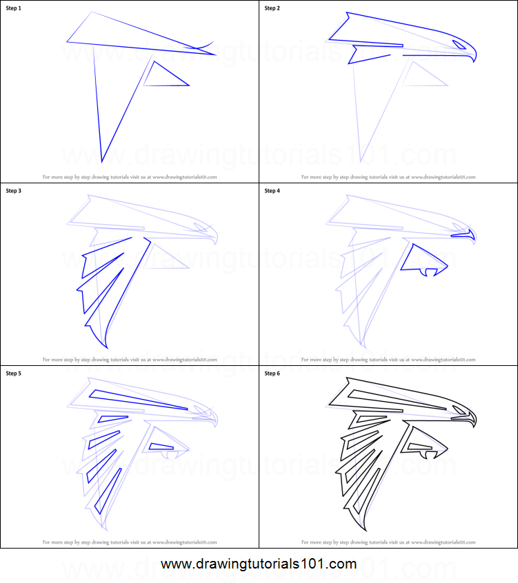 How To Draw Atlanta Falcons Logo Printable Step By Step Drawing