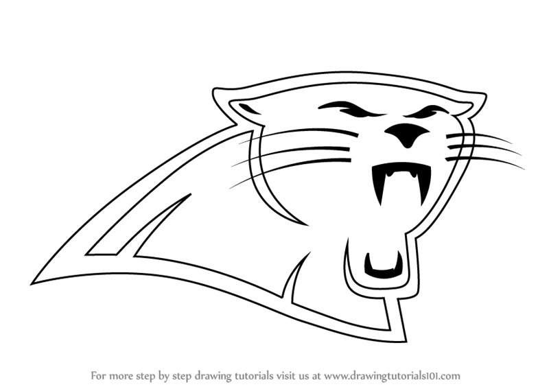 Carolina panthers printable logo pictures to pin on for Panther paw coloring page