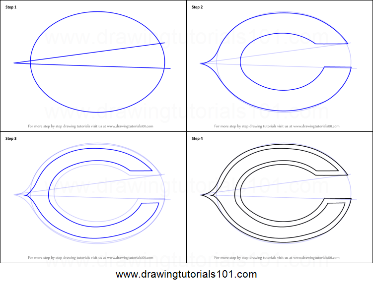 How To Draw Chicago Bears Logo Printable Step By Step