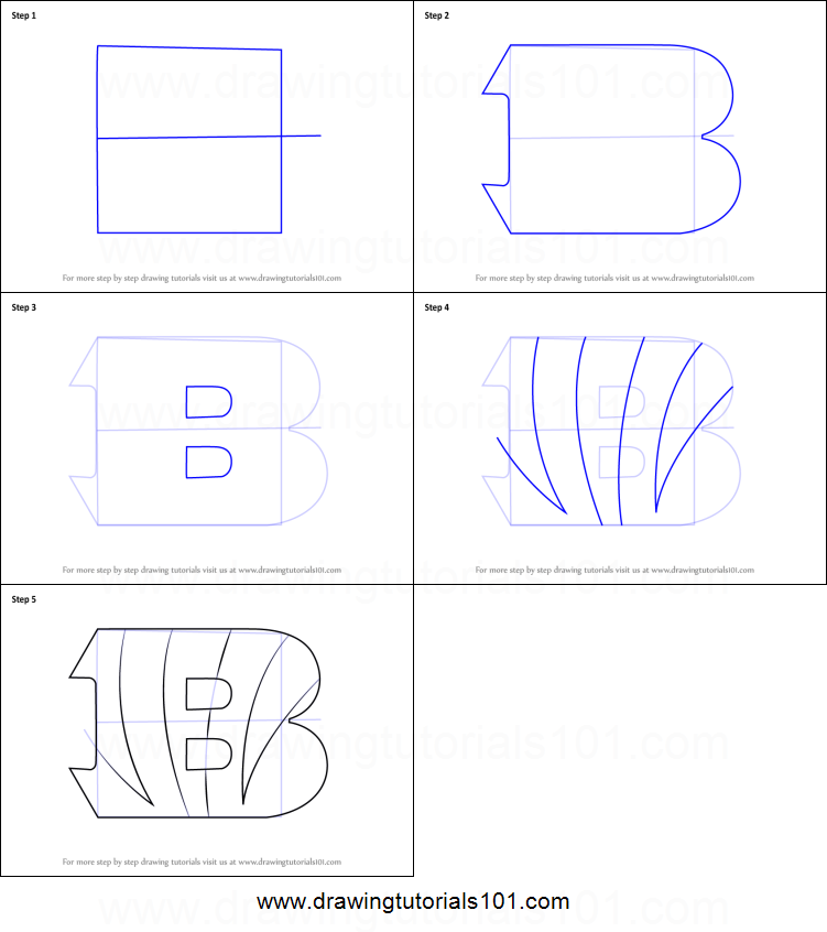cincinnati bengals coloring pages - how to draw cincinnati bengals logo printable step by step