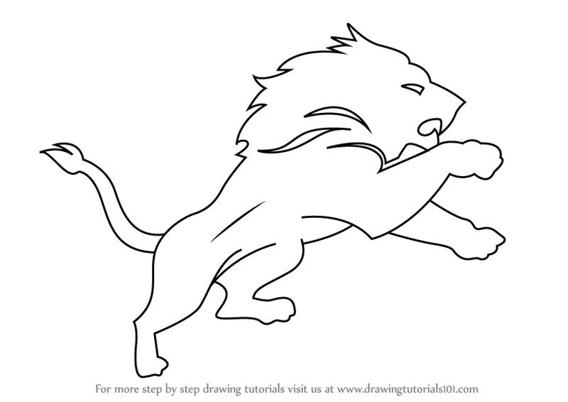 Learn How To Draw Detroit Lions Logo Nfl Step By Step