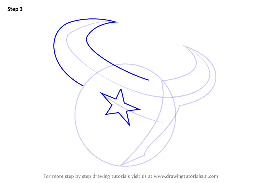 Learn How To Draw Houston Texans Logo NFL Step By Drawing Tutorials