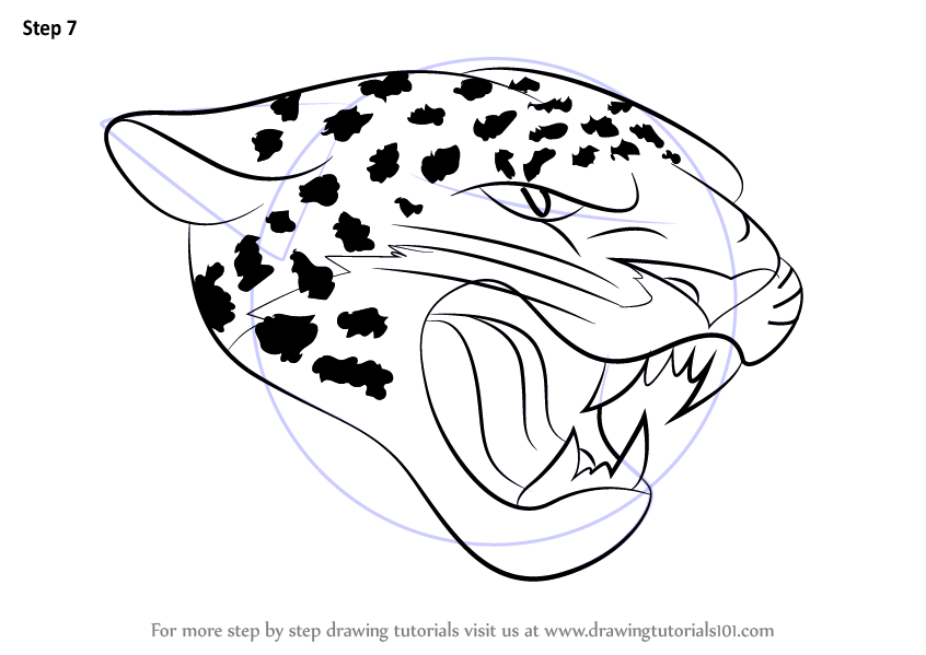 Line Drawing Jaguar : Learn how to draw jacksonville jaguars logo nfl step by