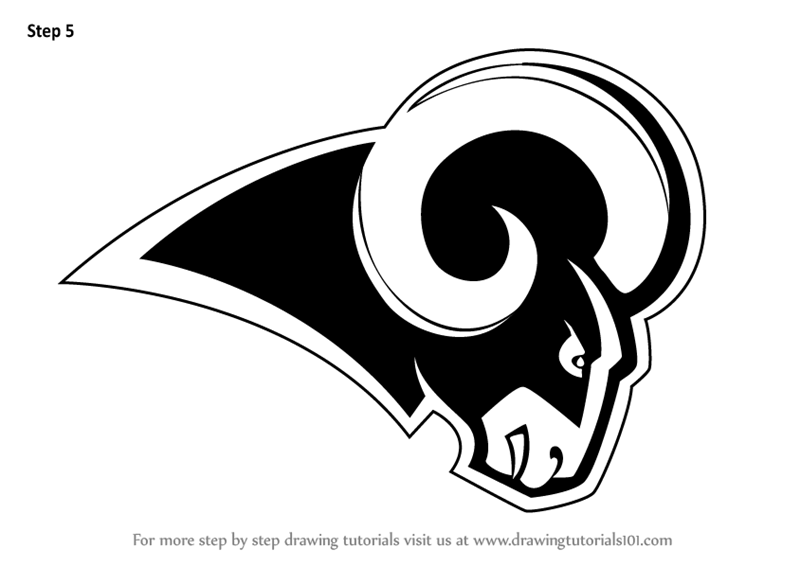 best website 814a6 1fe88 Learn How to Draw Los Angeles Rams Logo (NFL) Step by Step ...