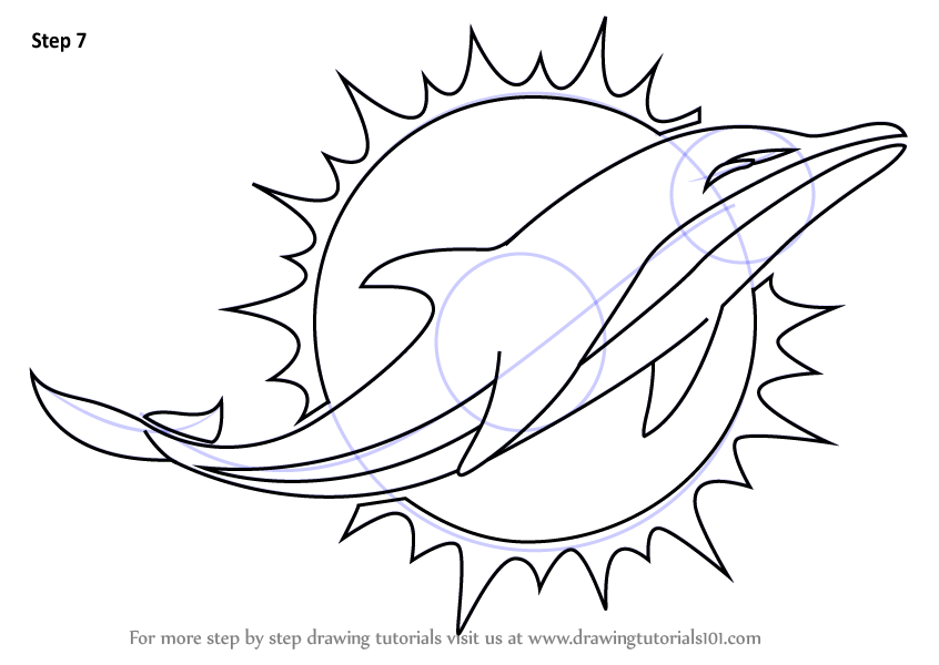 Step By Step How To Draw Miami Dolphins Logo