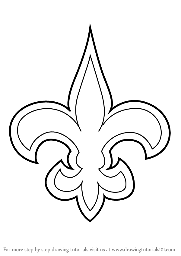 Learn how to draw new orleans saints logo nfl step by for New orleans saints coloring pages