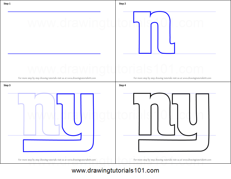 How To Draw New York Giants Logo Printable Step By Step