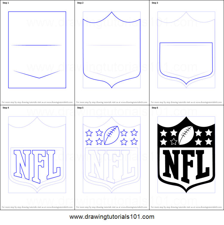 how to draw nfl logo printable step by step drawing sheet