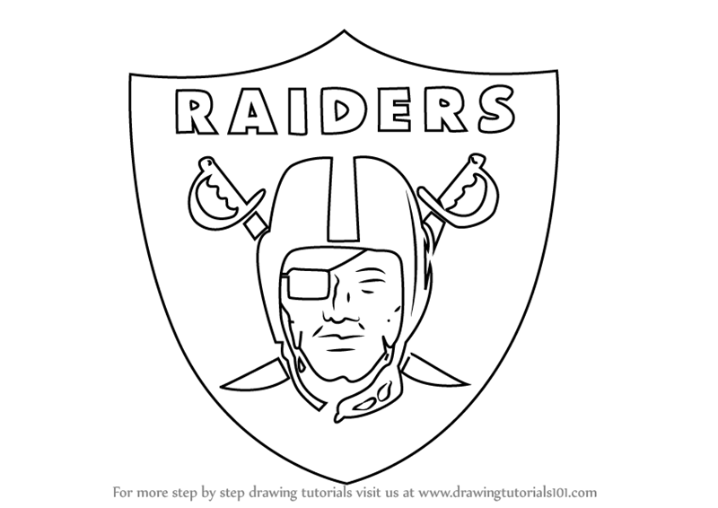 Step by step how to draw oakland raiders logo for Oakland raiders logo coloring page