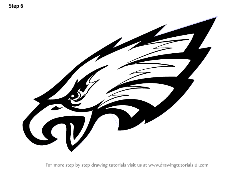 philadelphia eagles coloring pages for kids | Learn How to Draw Philadelphia Eagles Logo (NFL) Step by ...