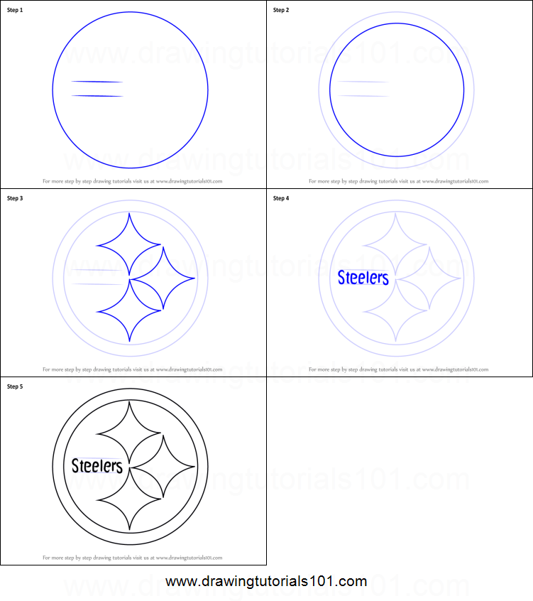 how to draw pittsburgh steelers logo printable step by