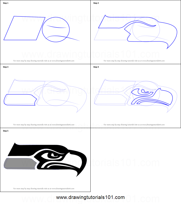 How To Draw Seattle Seahawks Logo Printable Step By Step