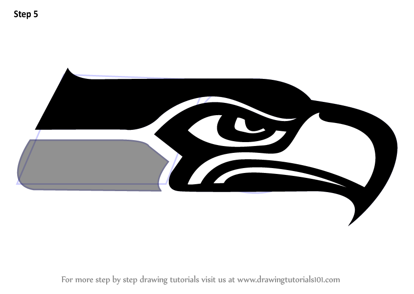Step By Step How To Draw Seattle Seahawks Logo Drawingtutorials101