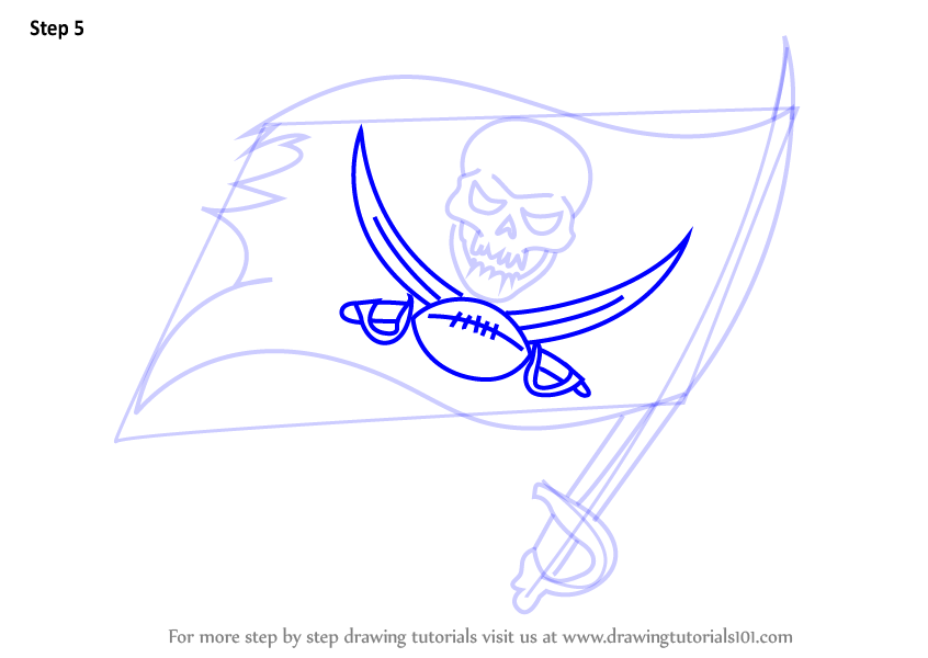 Step by step how to draw tampa bay buccaneers logo for Tampa bay buccaneers coloring pages