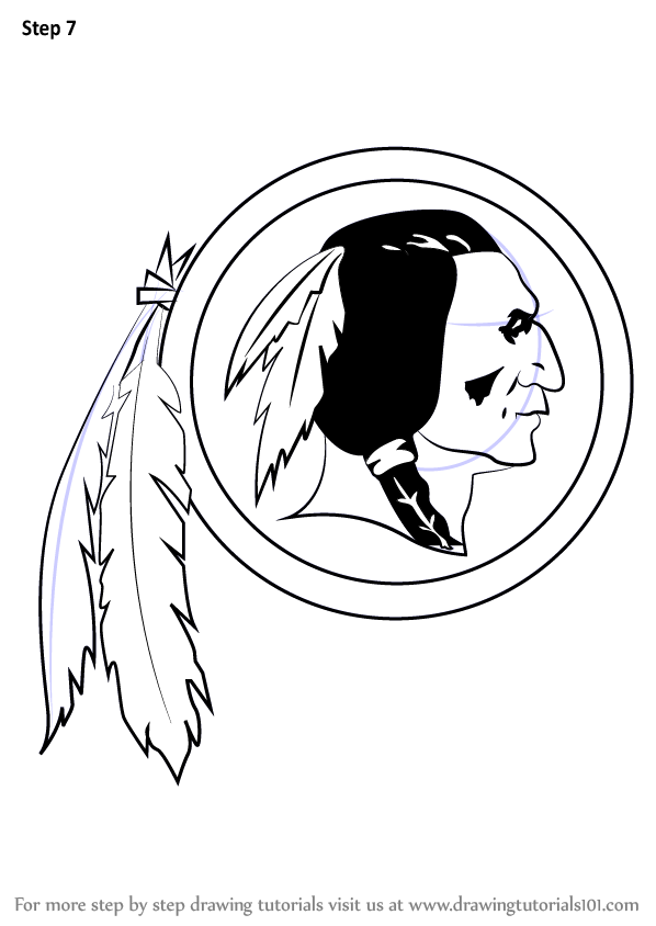 learn how to draw washington redskins logo  nfl  step by