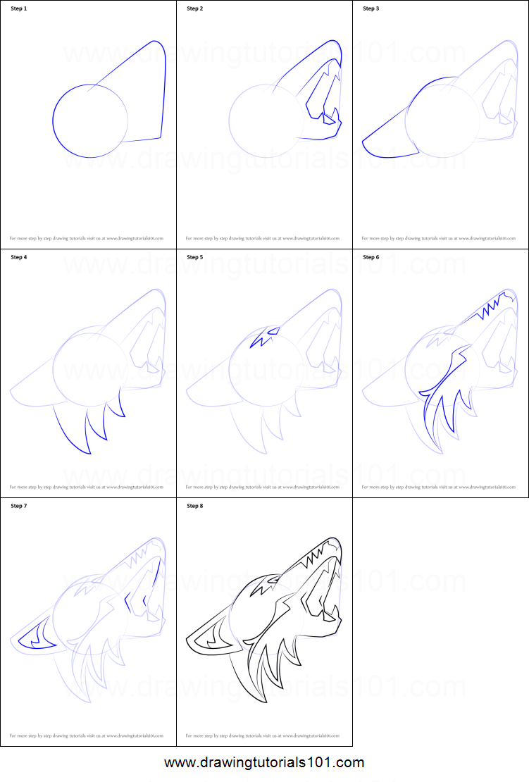 Uncategorized How To Draw A Coyote Step By Step how to draw arizona coyotes logo printable step by drawing sheet drawingtutorials101 com