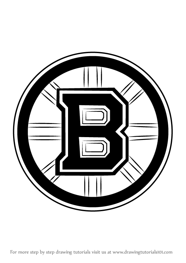 boston bruins logo coloring page - learn how to draw boston bruins logo nhl step by step