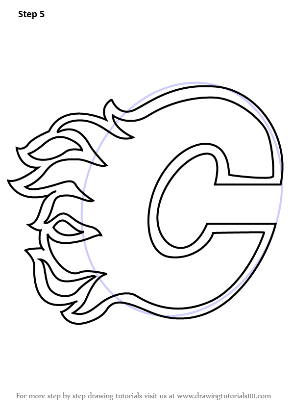 Learn How To Draw Calgary Flames Logo Nhl Step By Step