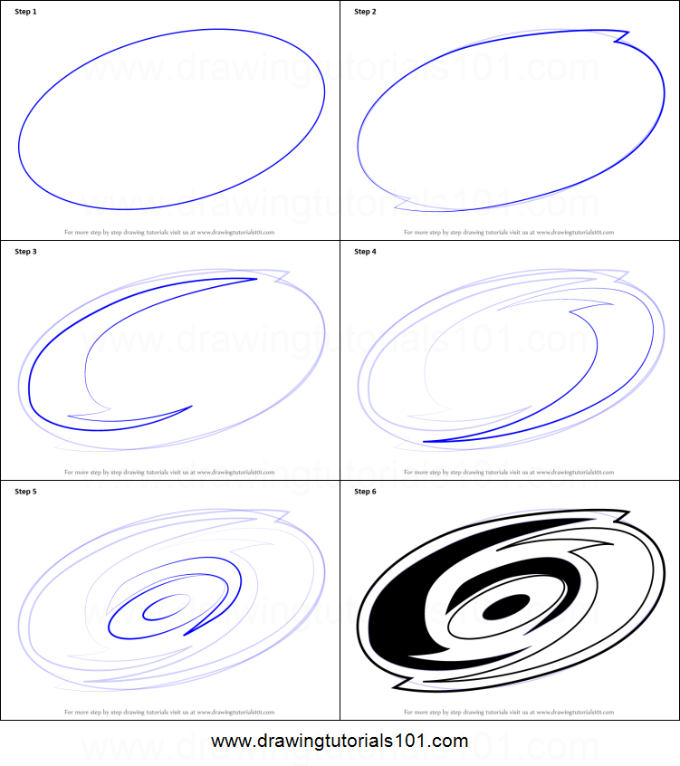 How to Draw Carolina Hurricanes Logo printable step by ...