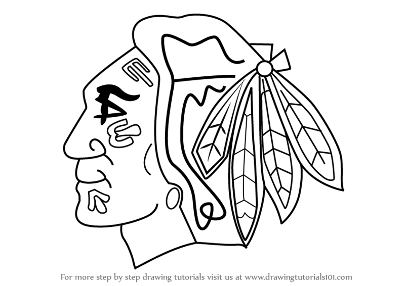 Learn How To Draw Chicago Blackhawks Logo Nhl Step By Step