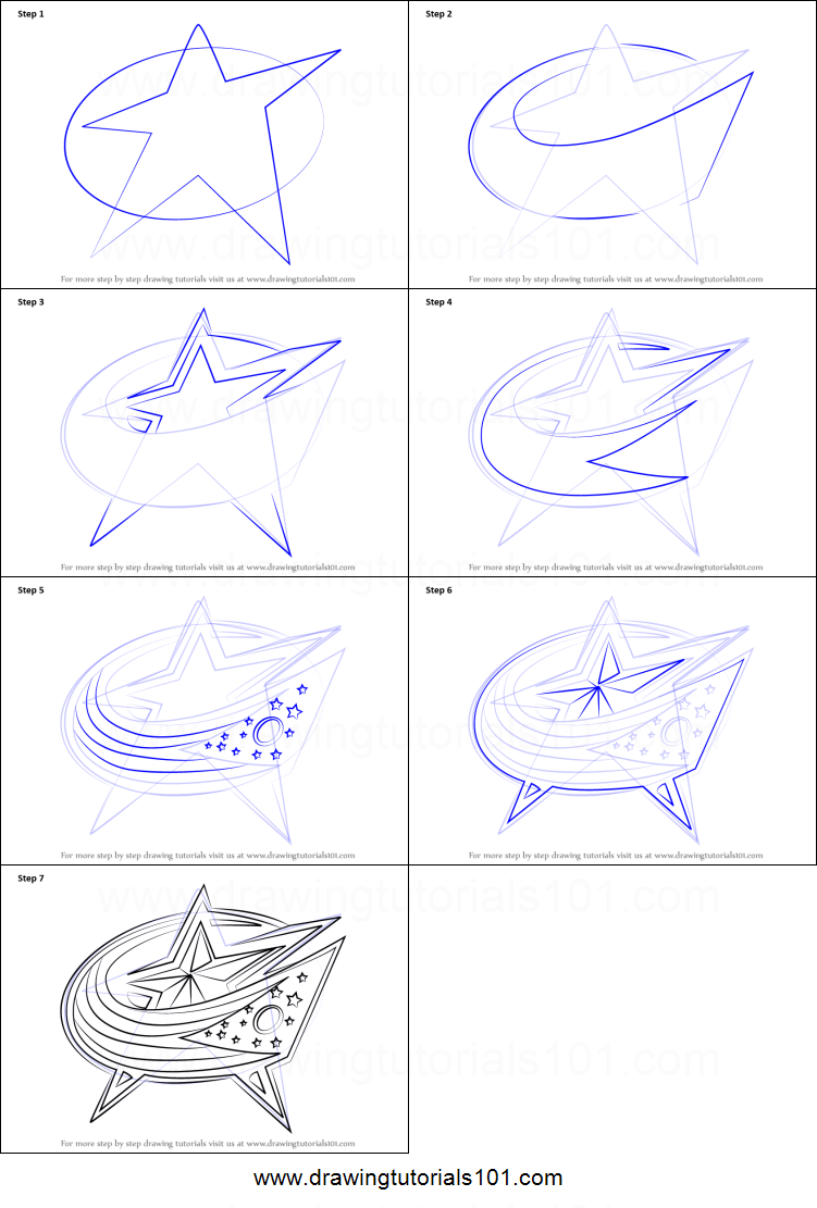 How To Draw Columbus Blue Jackets Logo Printable Step By Step