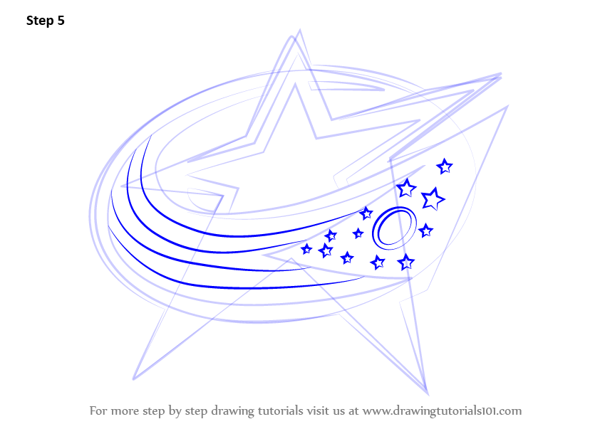 Learn How To Draw Columbus Blue Jackets Logo Nhl Step By Step
