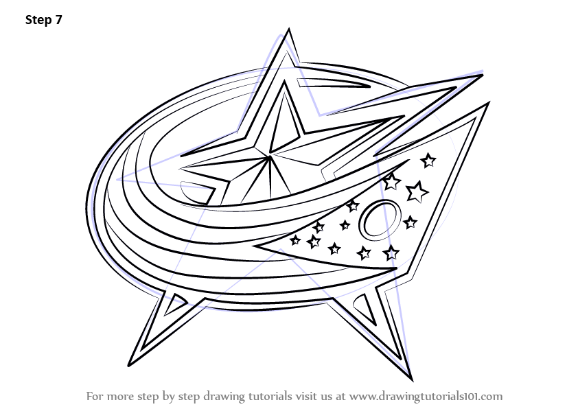 Learn How To Draw Columbus Blue Jackets Logo Nhl Step By
