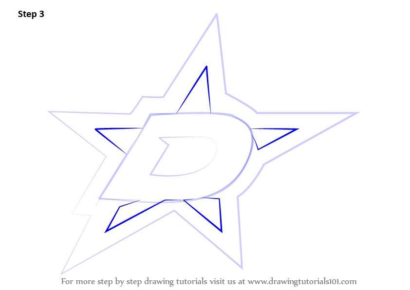 Learn How To Draw Dallas Stars Logo Nhl Step By Step