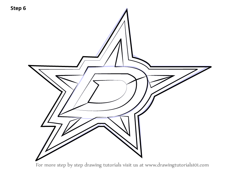 learn how to draw dallas stars logo  nhl  step by step   drawing tutorials