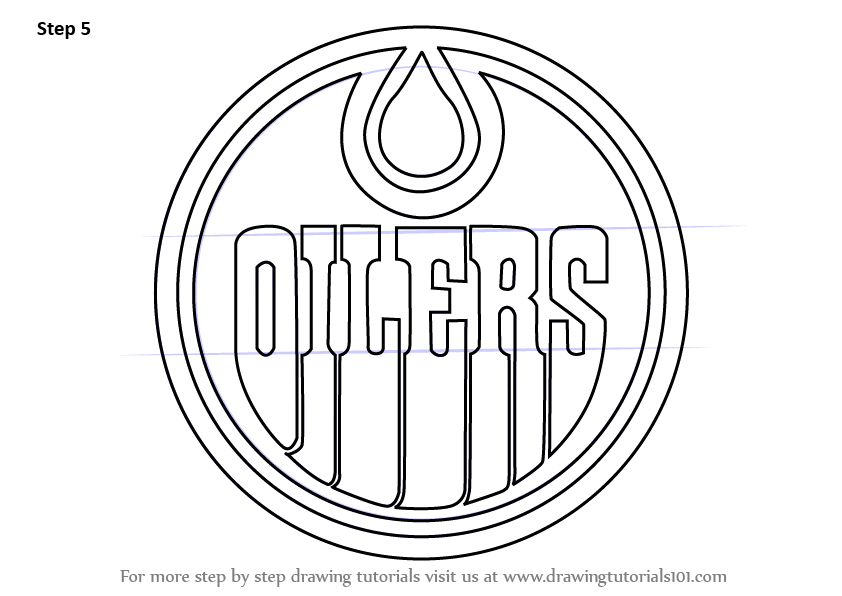 Learn How To Draw Edmonton Oilers Logo Nhl Step By Step