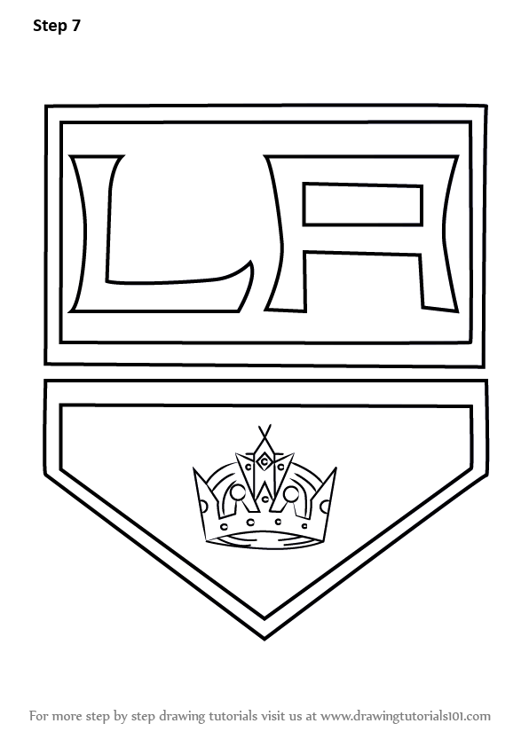 Learn How To Draw Los Angeles Kings Logo Nhl Step By