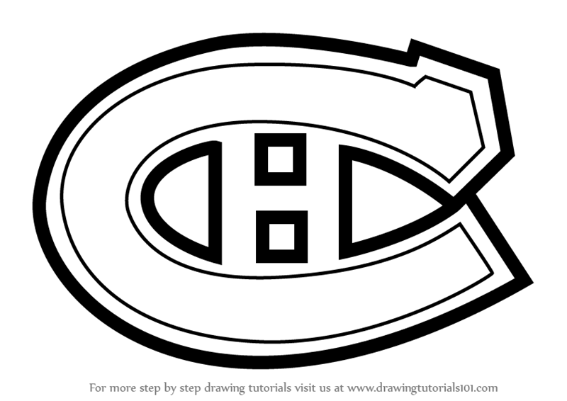 coloring pages of montreal canadiens logos | Learn How to Draw Montreal Canadiens Logo (NHL) Step by ...