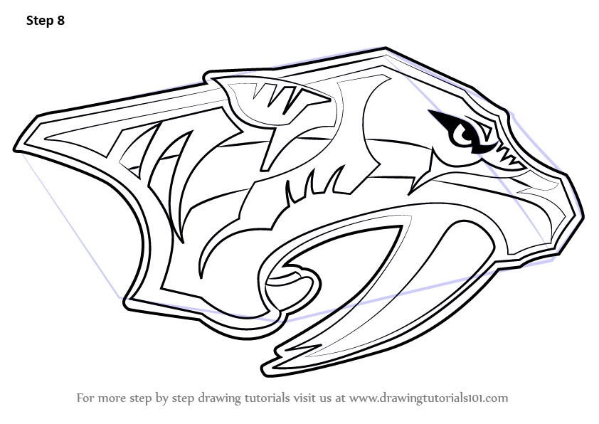 Learn How To Draw Nashville Predators Logo Nhl Step By