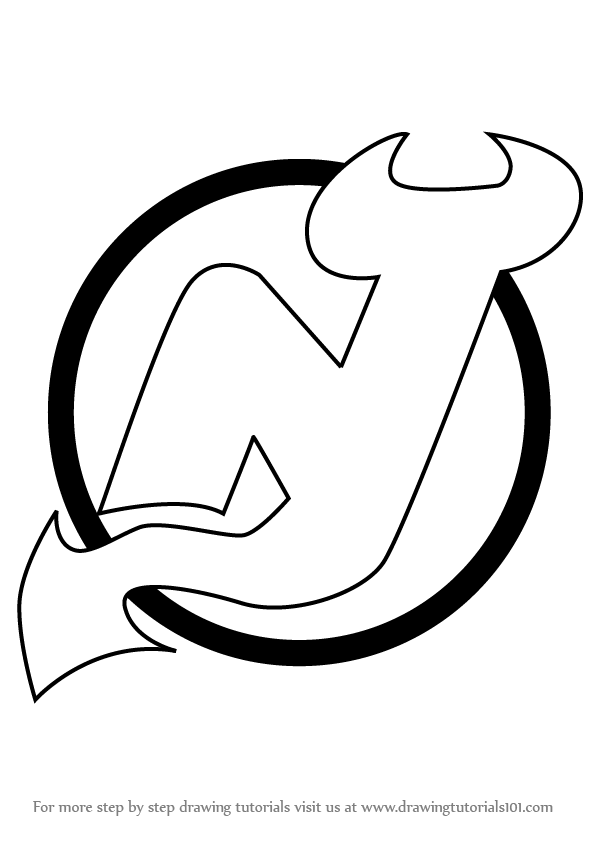 Step By Step How To Draw New Jersey Devils Logo