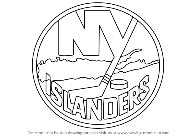 Learn How To Draw New York Islanders Logo Nhl Step By