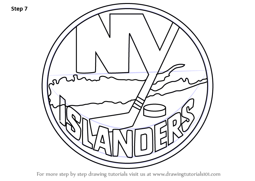 Learn How To Draw New York Islanders Logo Nhl Step By Step