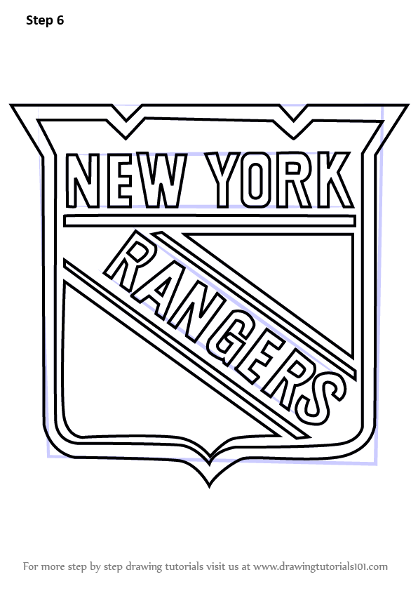 Learn How to Draw New York Rangers Logo (NHL) Step by Step : Drawing ...