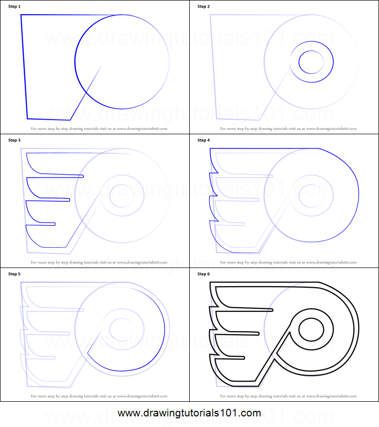 How to draw philadelphia flyers logo printable step by for How to make doodle art