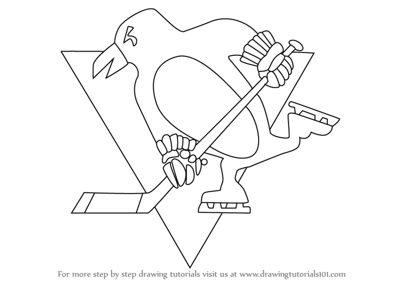 learn how to draw pittsburgh penguins logo nhl step by step drawing tutorials